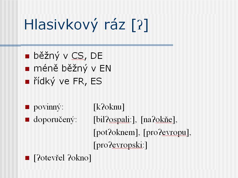 Hlasivkový ráz [ʔ] běžný v CS, DE méně běžný v EN řídký ve FR, ES